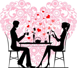Silhouette of a couple sitting and talking at cafe